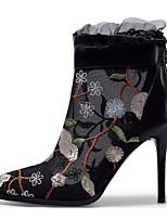 Недорогие -Жен. Обувь Наппа Leather Весна / Осень Удобная обувь / Модная обувь Ботинки На шпильке Ботинки Черный / Розовый
