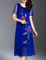 Недорогие -Жен. Классический Оболочка Платье - Однотонный / Цветочный принт Средней длины
