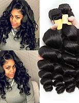 billiga -3 paket Malaysiskt hår Vågigt Obehandlat Human Hår vävar / Förlängare 8-28 tum Naturlig Hårförlängning av äkta hår Maskingjord Bästa kvalitet / Heta Försäljning / Till färgade kvinnor Människohår