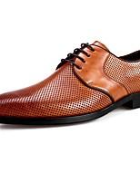 Недорогие -Муж. Наппа Leather Лето Удобная обувь Туфли на шнуровке Черный / Коричневый