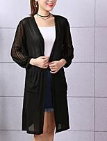 economico -Per donna Manica lunga Cotone Pullover Tinta unita