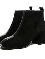 Недорогие -Жен. Обувь Замша / Искусственная кожа Наступила зима Удобная обувь / Ботильоны Ботинки Для прогулок На толстом каблуке Квадратный носок Ботинки Черный