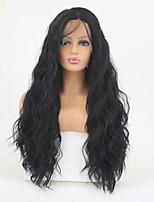 Недорогие -Синтетические кружевные передние парики Волнистый Боковая часть Искусственные волосы Регулируется / Жаропрочная Черный Парик Жен. Длинные Лента спереди / Да