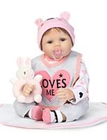 Недорогие -NPKCOLLECTION Куклы реборн Девочки 24 дюймовый как живой, Ручные прикладные ресницы, Искусственные имплантации Голубые глаза Детские Девочки Подарок / Естественный тон кожи / Головка дискеты