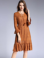 cheap -SHIHUATANG Women's Sophisticated / Elegant Flare Sleeve A Line Dress - Solid Colored Lace