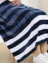 baratos -Velocino de Coral, Impressão Reactiva Listrado / Geométrica Algodão / Poliéster cobertores