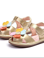cheap -Girls' Shoes PU(Polyurethane) Spring & Summer First Walkers Sandals Flower for Toddler Gold / White