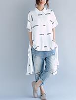 cheap -Women's Cotton Shirt - Striped Shirt Collar