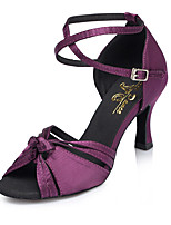 cheap -Women's Latin Shoes Satin Sneaker Satin Flower Cuban Heel Dance Shoes Purple