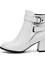 cheap -Women's Shoes PU(Polyurethane) Spring / Fall Comfort / Fashion Boots Boots Chunky Heel White / Black / Beige