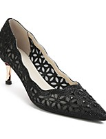 cheap -Women's Shoes Sheepskin Spring & Summer Comfort Heels Stiletto Heel Black / Silver