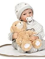 Недорогие -NPKCOLLECTION Куклы реборн Мальчики 24 дюймовый как живой, Ручные прикладные ресницы, Гофрированные и запечатанные ногти Детские Мальчики Подарок / Искусственная имплантация Коричневые глаза