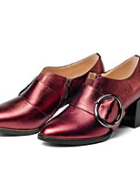 cheap -Women's Shoes Nappa Leather Fall Comfort Heels Chunky Heel Silver / Wine