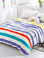 Недорогие -Коралловый флис, Пигментная печать Полоски Хлопок / полиэфир одеяла