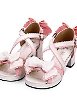 cheap -Lolita Shoes Sweet Lolita Dress Princess Lolita Chunky Heel Shoes Color Block 4.5 cm CM Black / Pink For PU(Polyurethane) Halloween Costumes