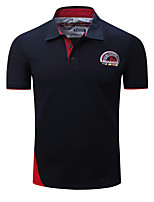 cheap -Men's Basic Polo - Color Block / Letter Patchwork / Embroidered