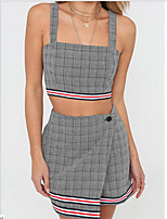 cheap -Women's Basic / Street chic Tank Top - Color Block / Check, Backless / Patchwork Pant