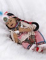 Недорогие -NPKCOLLECTION Куклы реборн Девочки 24 дюймовый как живой, Искусственная имплантация Коричневые глаза Детские Девочки Подарок