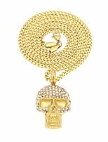 preiswerte -Herrn Kubikzirkonia Stilvoll / Kubanischer Link Anhängerketten / Ketten - Rostfrei Totenkopf Stilvoll, Europäisch, Hip-Hop Gold 60 cm Modische Halsketten 1pc Für Strasse, Klub