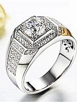 abordables -Homme 3D Bague - Imitation Diamant Elégant, Classique réglable Argent Pour Quotidien