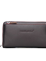 cheap -Men's Bags Nappa Leather Wallet Zipper / Embossed Black / Brown