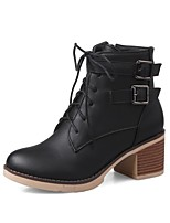 cheap -Women's Shoes PU(Polyurethane) Fall & Winter Comfort Boots Chunky Heel Black / Beige / Pink