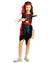 cheap -Pirate Costume Girls' Halloween Carnival Children's Day Festival / Holiday Halloween Costumes Outfits Brown Solid Colored Halloween Halloween