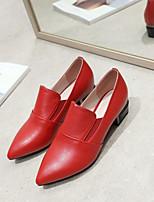 preiswerte -Damen Schuhe Leder Sommer Komfort High Heels Blockabsatz Spitze Zehe Schwarz / Rot