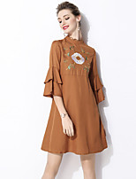 cheap -SHIHUATANG Women's Street chic Flare Sleeve A Line Dress - Floral Embroidered
