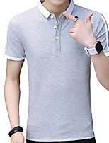 cheap -Men's Slim Polo - Solid Colored Shirt Collar / Short Sleeve