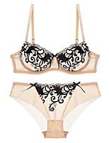 cheap -Women's 3/4 Cup Bras & Panties Sets Underwire Bra / Padless - Embroidered