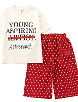 cheap -Kids Girls' Solid Colored Short Sleeve Clothing Set