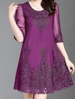 Недорогие -Жен. Классический Оболочка Платье - Однотонный / Цветочный принт Выше колена