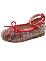 cheap -Girls' Shoes PU(Polyurethane) Fall & Winter Flower Girl Shoes Flats Walking Shoes Rhinestone for Kids Black / Red / Pink