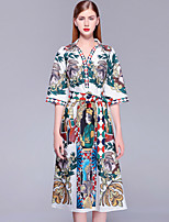cheap -Mary Yan & Yu Women's Basic / Street chic Swing Dress - Floral Beaded / Print