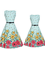 cheap -Adults / Kids Mommy and Me Solid Colored / Floral Sleeveless Dress