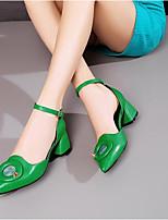 Недорогие -Жен. Обувь Наппа Leather Весна Удобная обувь Обувь на каблуках На толстом каблуке Черный / Зеленый / Синий