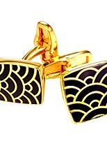 baratos -Cubóide / Riscas Prata / Dourado Botões de Punho Cobre Formal / Fashion Homens Jóias de fantasia Para Presente / Diário