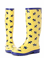 cheap -Women's Shoes Rubber Spring / Fall Comfort / Rain Boots Boots Flat Heel Yellow