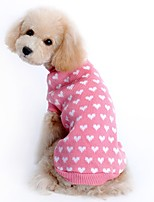 cheap -Rodents / Dogs / Cats Sweater / Holiday Decorations / Christmas Dog Clothes Print / Simple / Heart Pink Textile Costume For Pets Male / Female Casual / Daily / Warm Ups