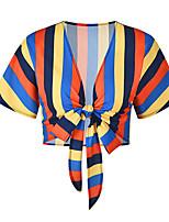 baratos -Mulheres Blusa Estampa Colorida Decote em V Profundo