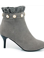 cheap -Women's Shoes Suede Fall Comfort / Bootie Boots Stiletto Heel Black / Gray / Camel