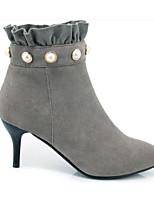 economico -Per donna Scarpe Scamosciato Autunno Comoda / Stivaletti alla caviglia Stivaletti A stiletto Nero / Grigio / Cammello