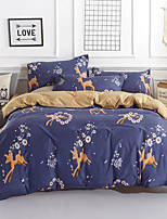 cheap -Duvet Cover Sets Floral / Cartoon / Stripes / Ripples Polyster Reactive Print 4 Piece