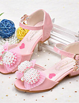 cheap -Girls' Shoes PU(Polyurethane) Spring & Summer Flower Girl Shoes Sandals Bowknot / Pearl for Kids White / Pink
