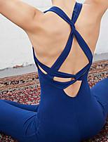 baratos -Mulheres Calças de Yoga / Yoga Top - Preto, Azul Esportes Côr Sólida Conjuntos de Roupas Balé, Pilates, Fitness Roupas Esportivas Compressão, Esticar Elasticidade Alta