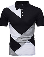 baratos -Homens Polo Básico Patchwork, Estampa Colorida Preto & Branco