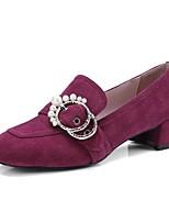 Недорогие -Жен. Обувь Замша Весна лето Удобная обувь Обувь на каблуках На толстом каблуке Черный / Винный / Миндальный