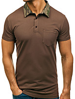 cheap -Men's Polo - Solid Colored / Camouflage Patchwork