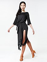 cheap -Latin Dance Dresses Women's Performance Milk Fiber Sashes / Ribbons / Tassel / Split Half Sleeve Dress